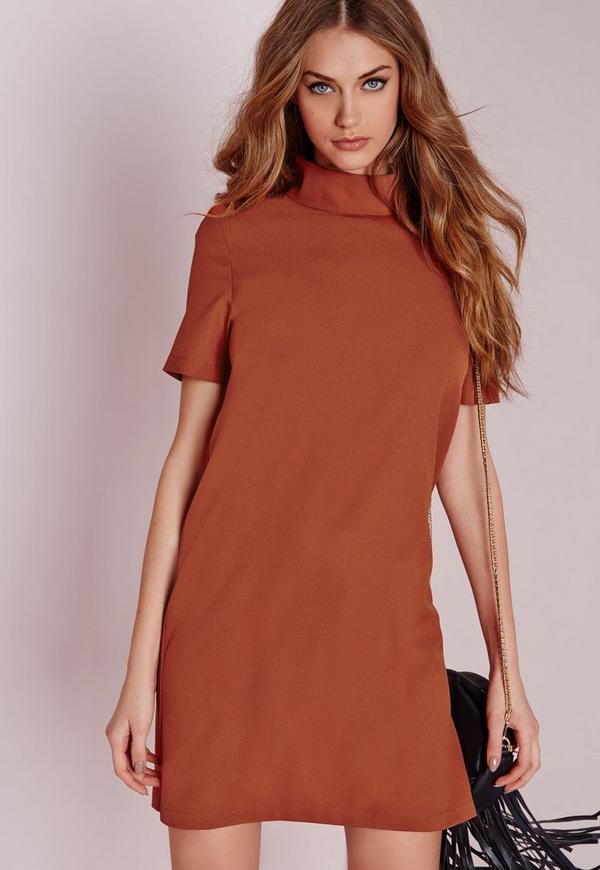 High Neck Short Sleeve Shift Dress Clay