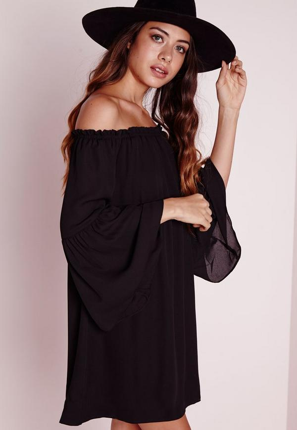 Bardot Bell Sleeve Chiffon Swing Dress Black