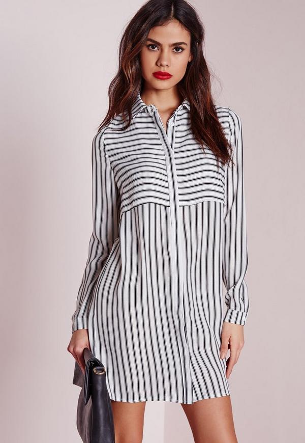 Overlay Stripe Shirt Dress White/Black