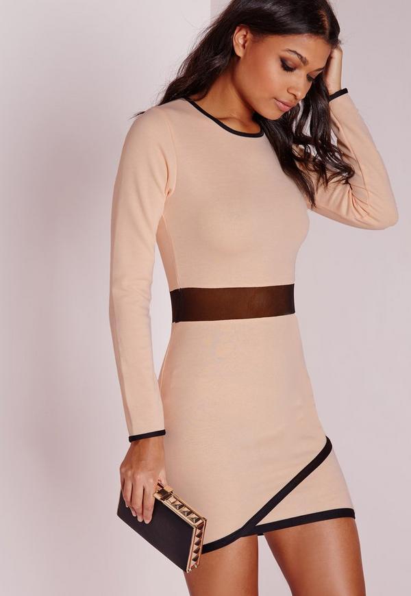 Long Sleeve Ponte Contrast Bodyon Dress Nude/Black