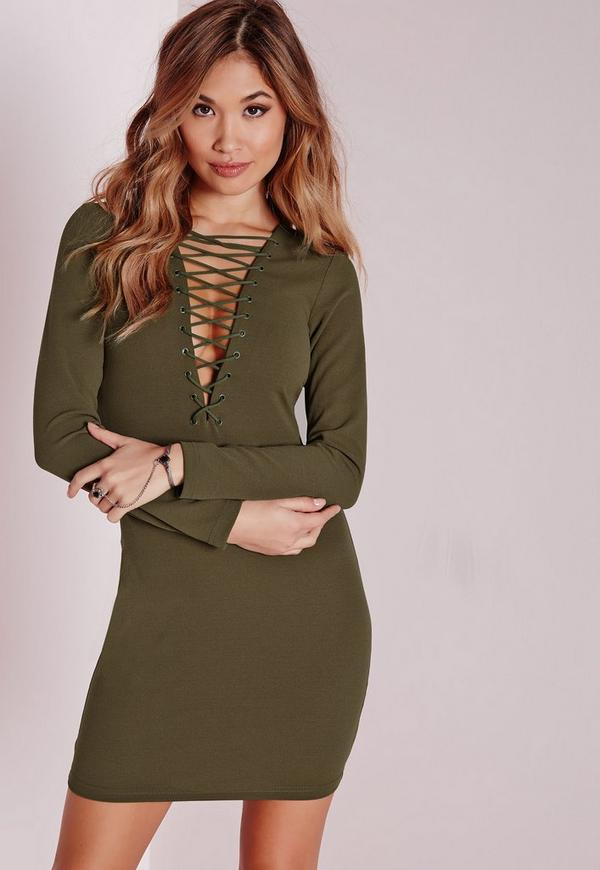 Lace Up Long Sleeve Bodycon Dress Khaki