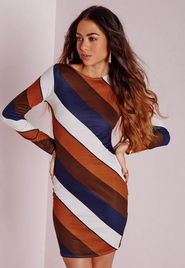 Long Sleeve Diagonal Stripe Bodycon Dress Multi