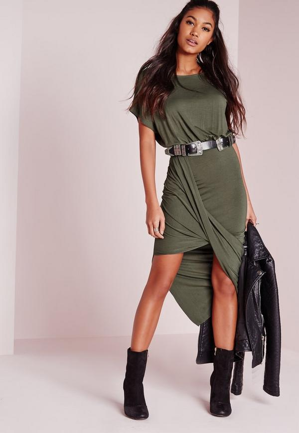 Twist Hem Loose Fit Midi Dress Khaki