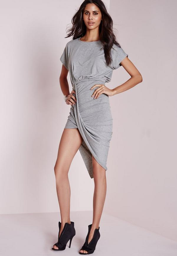 Twist Hem Loose Fit Midi Dress Grey