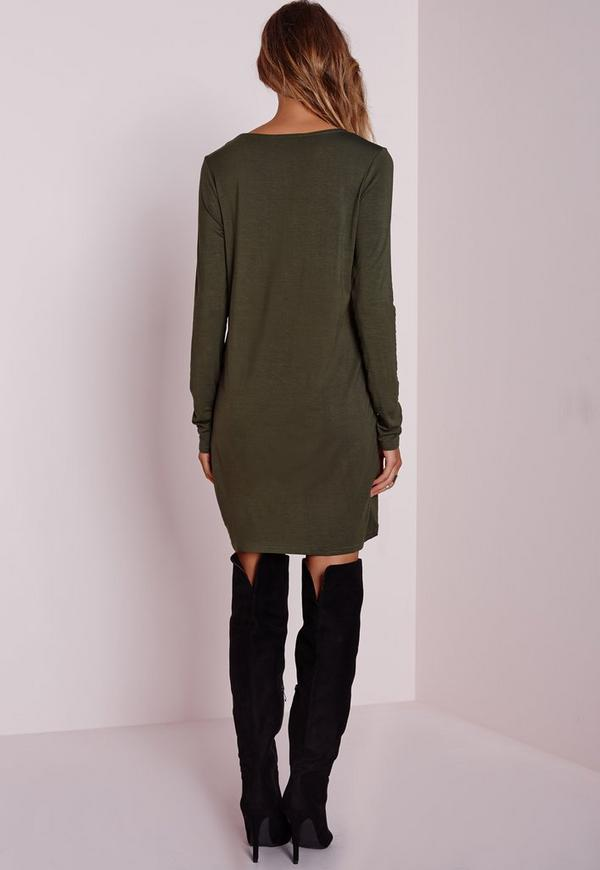 Knot Front Long Sleeve Dress Khaki Missguided