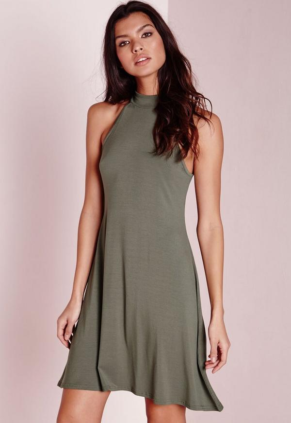 High Neck Jersey Racer Swing Dress Khaki