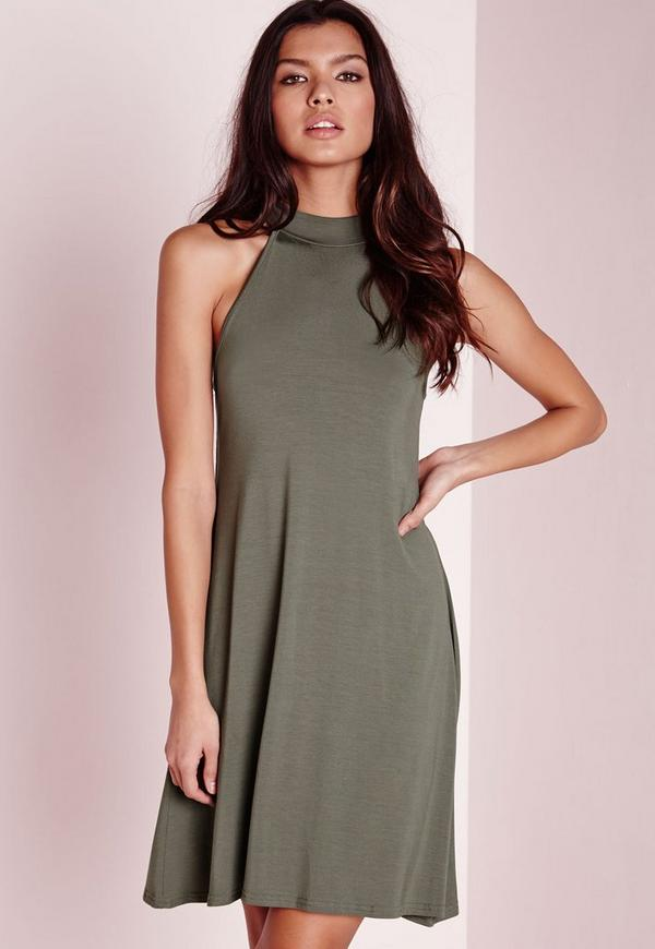 318bfde733c0 High Neck Jersey Racer Swing Dress Khaki. €11.00. Previous Next