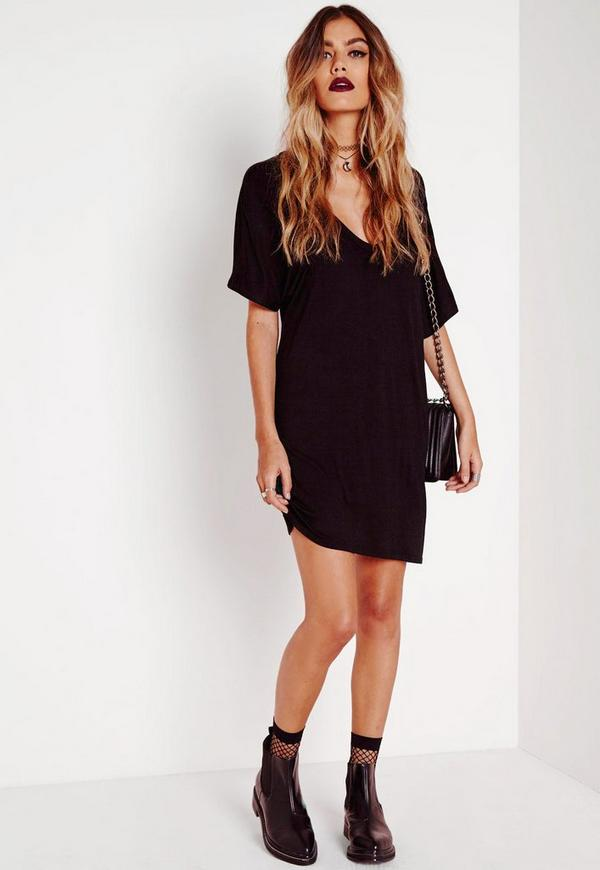 Wide V Neck T-Shirt Dress Black | Missguided