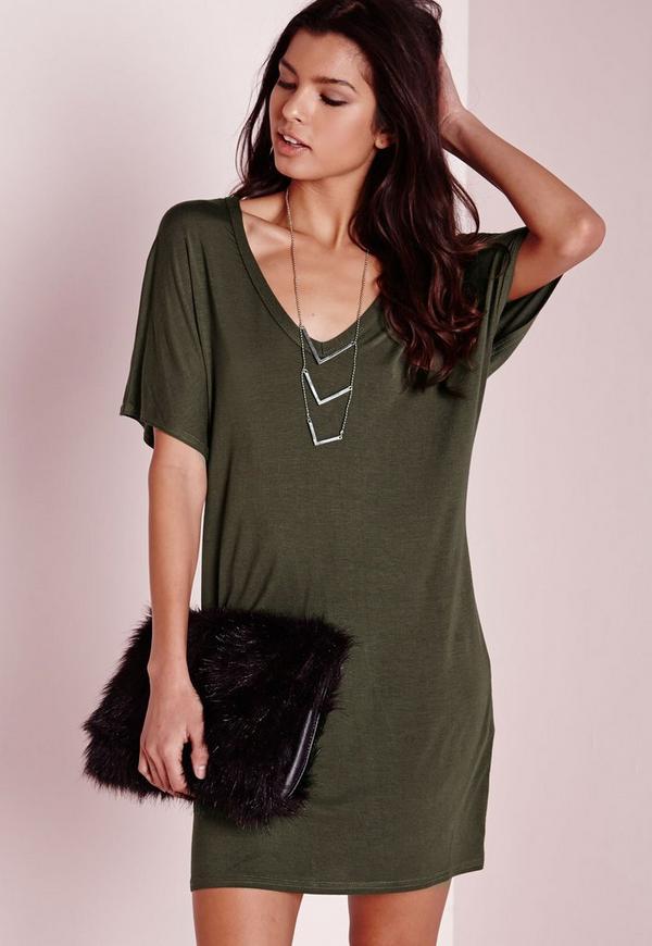 Wide V Neck T Shirt Dress Khaki Missguided