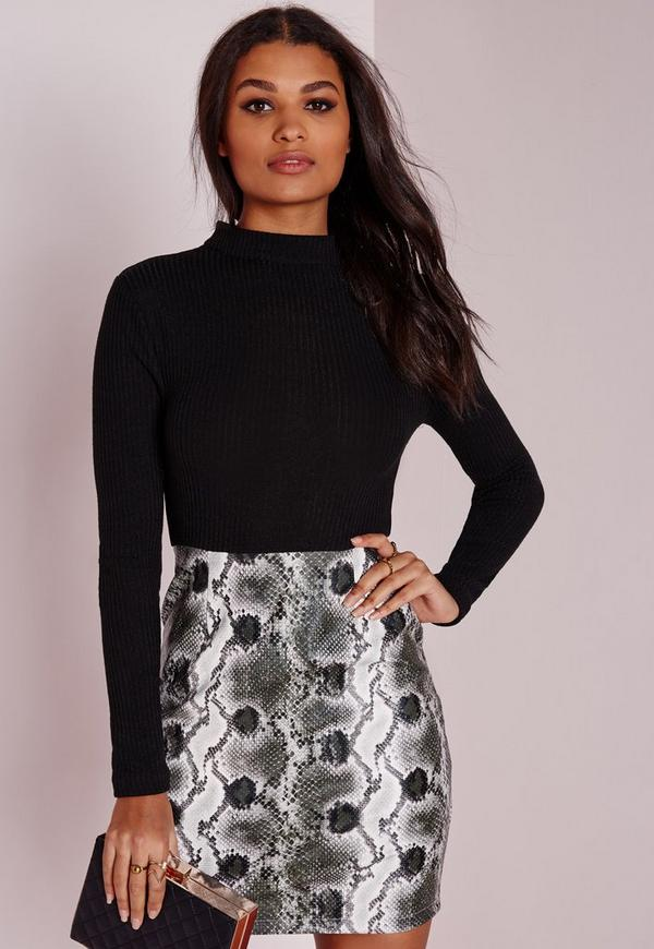Contrast Rib Dress Faux Leather Snake Skirt Black