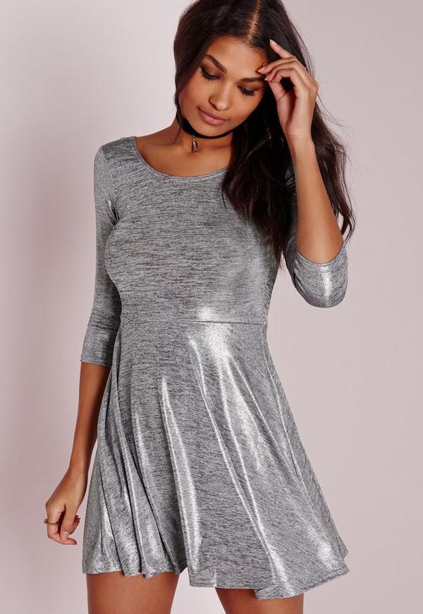 Sparkle Grey Marl 3/4 Length Sleeve Skater Dress