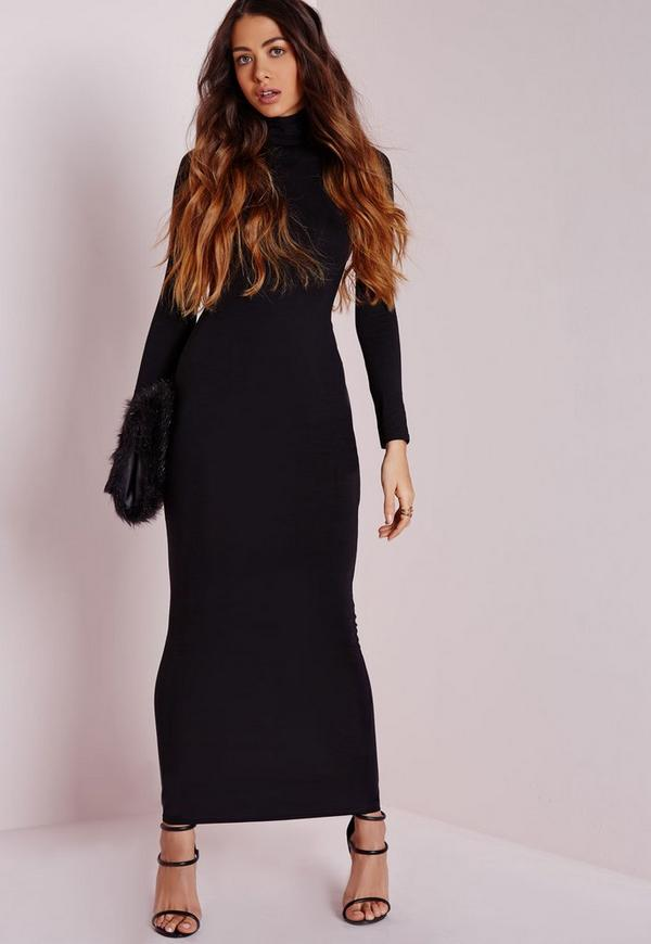 Roll Neck Long Sleeve Bodycon Maxi Black | Missguided