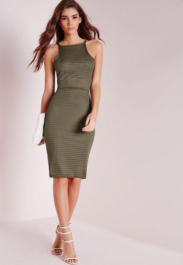Burnout Stripe Mesh Midi Dress Khaki