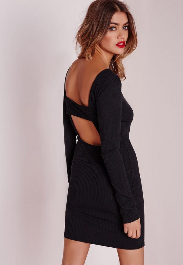 Cutout Back Rib Knit Bodycon Dress Black