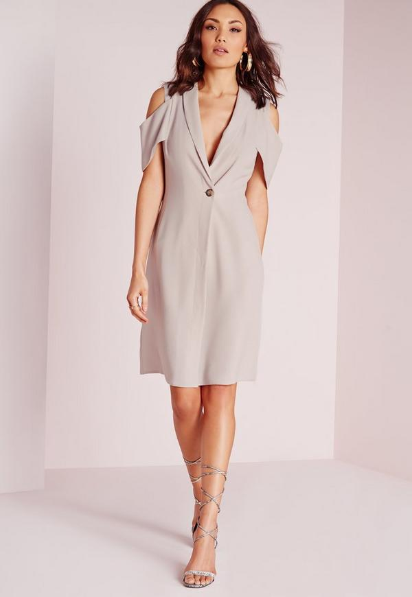 Cold Shoulder Blazer Dress Grey