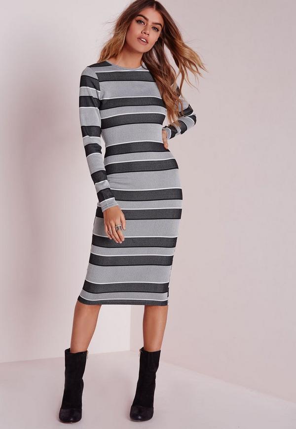 Long Sleeve Midi Dress Grey Stripe