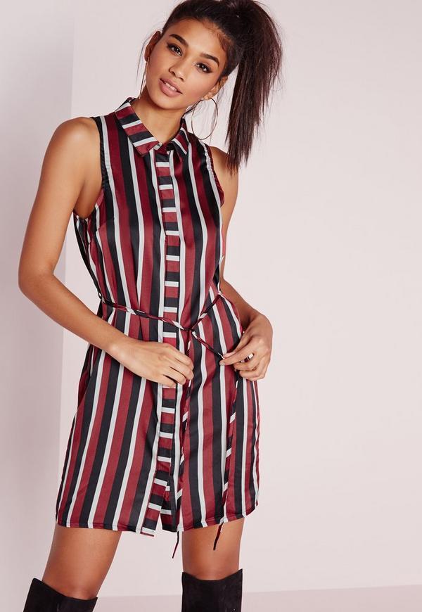 Sleeveless Tie Waist Shirt Dress Burgundy Stripe