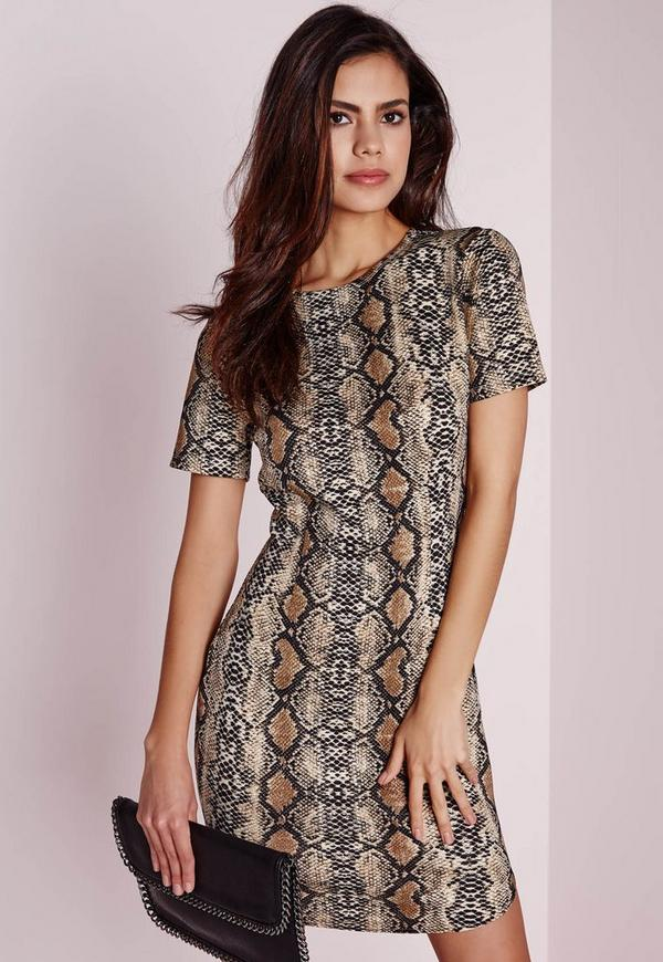 Short Sleeve Snakeskin Bodycon Dress Black/Camel