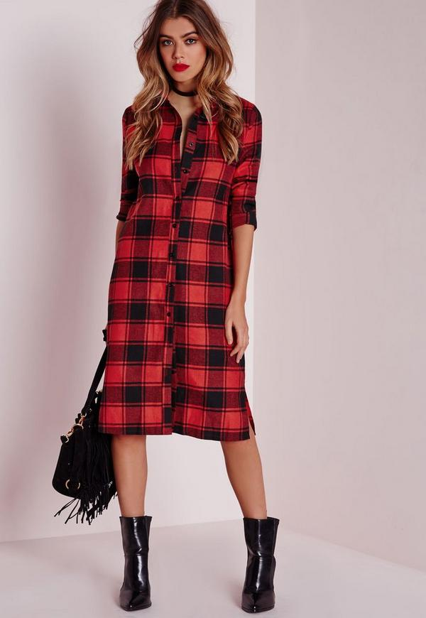 Oversized midi check shirt dress red missguided for Pink checkered dress shirt
