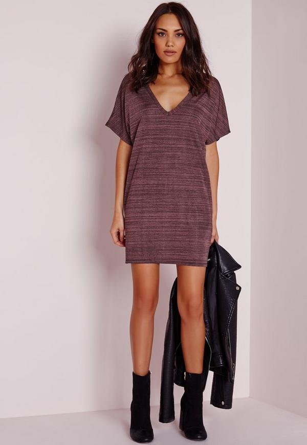 V-Neck Oversized T-Shirt Dress Purple Marl