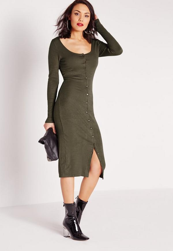 Button Up Rib Midi Bodycon Dress Khaki