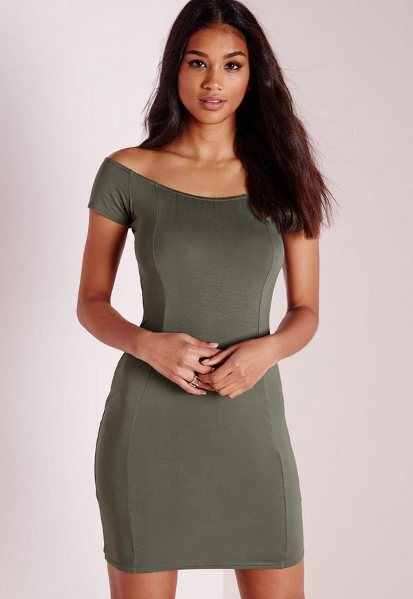 Bardot Bodycon Jersey Dress Khaki