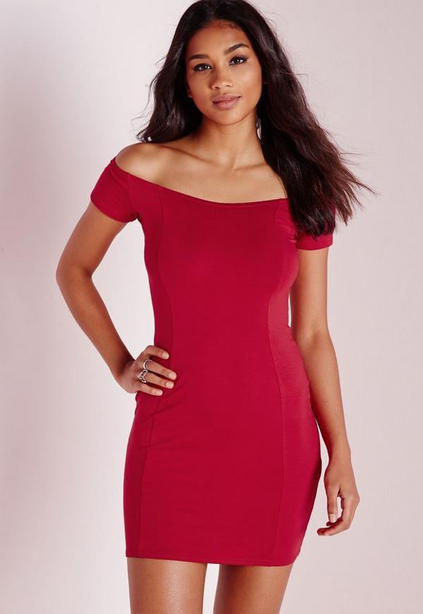 Bardot Bodycon Jersey Dress Red