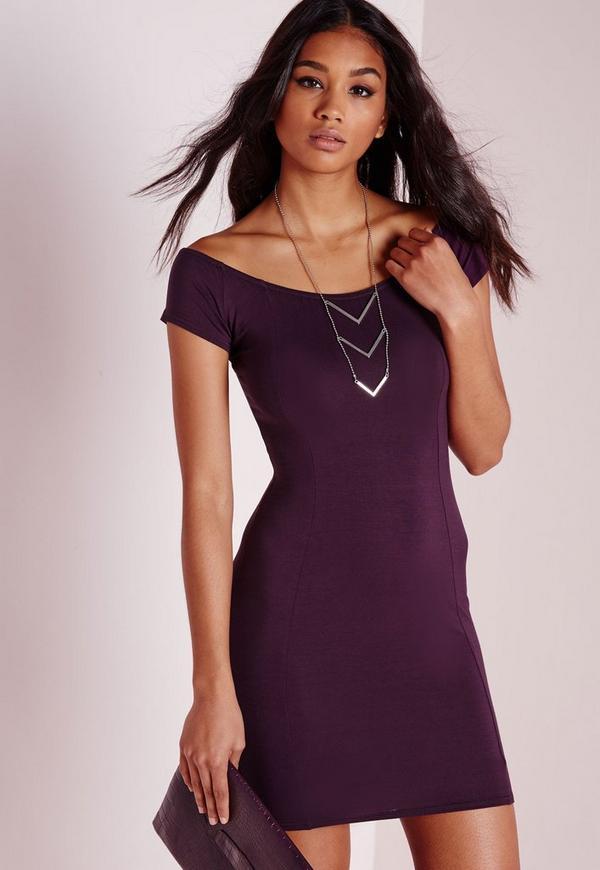 Bardot Bodycon Jersey Dress Purple