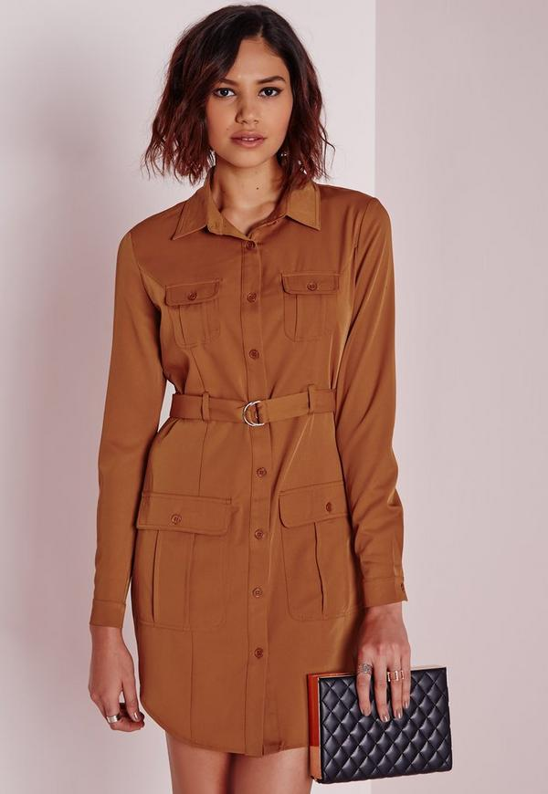 Long Sleeve Belted Waist Shirt Dress Tan