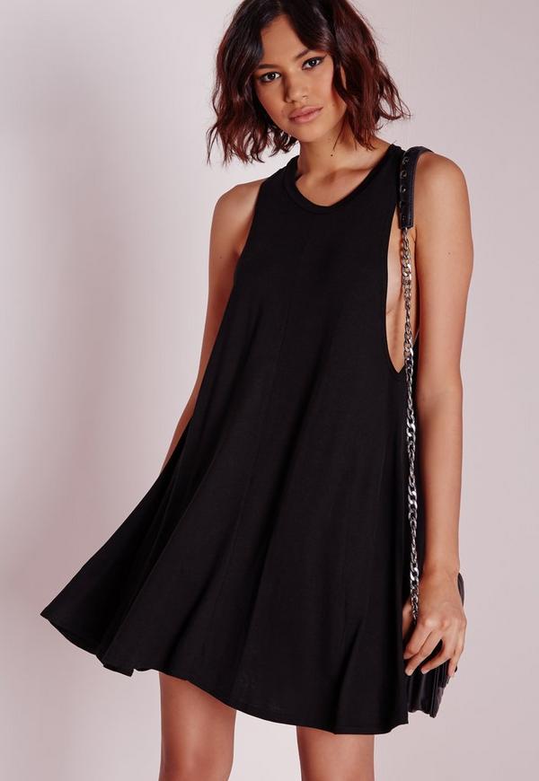 Drop Armhole Jersey Swing Dress Black