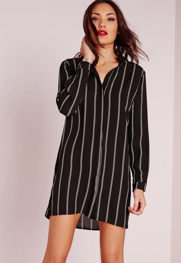Collarless Stripe Shirt Dress Black/White