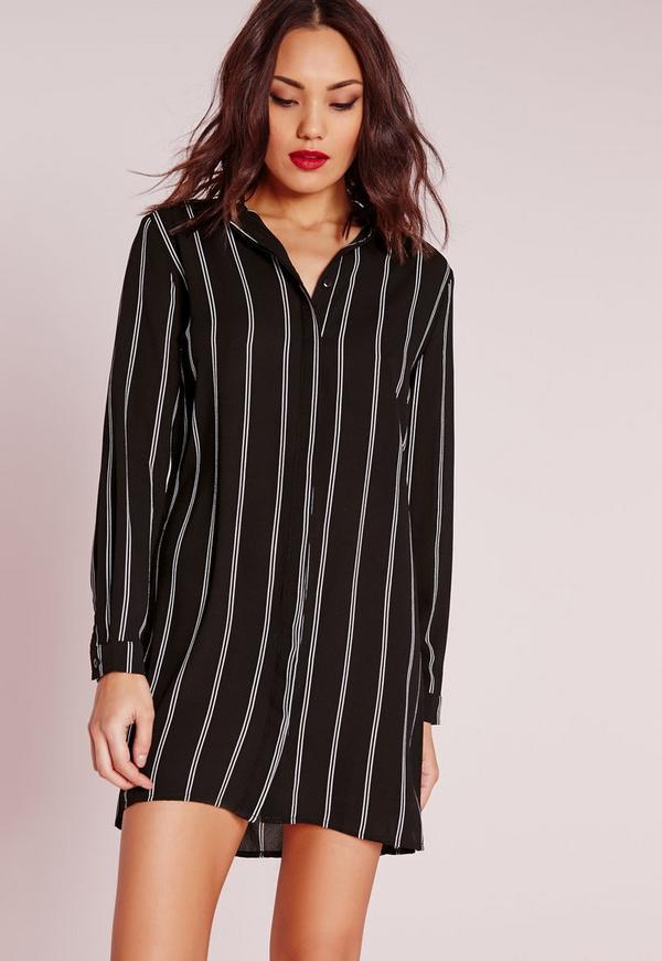 robe chemise sans col ray e noir et blanc missguided. Black Bedroom Furniture Sets. Home Design Ideas