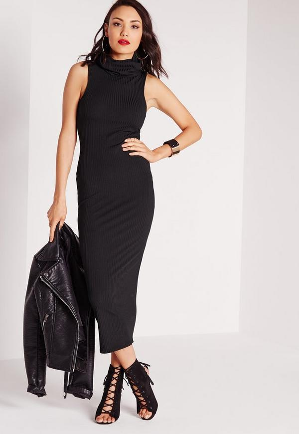 1de15bb33f Ribbed Sleeveless Roll Neck Midi Dress Black. Was  40.00. Now  20.00 (50%  off). Previous Next