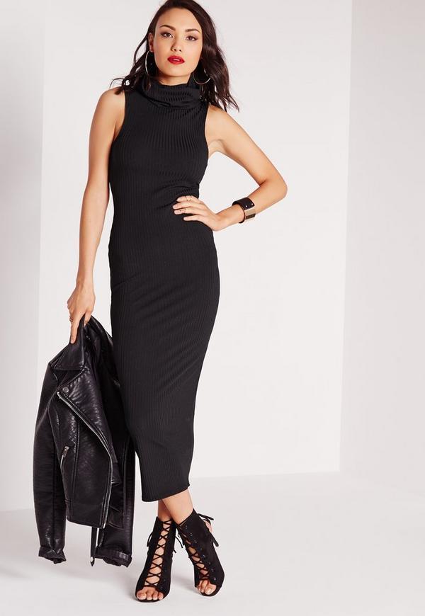 ec7e6569294 Ribbed Sleeveless Roll Neck Midi Dress Black