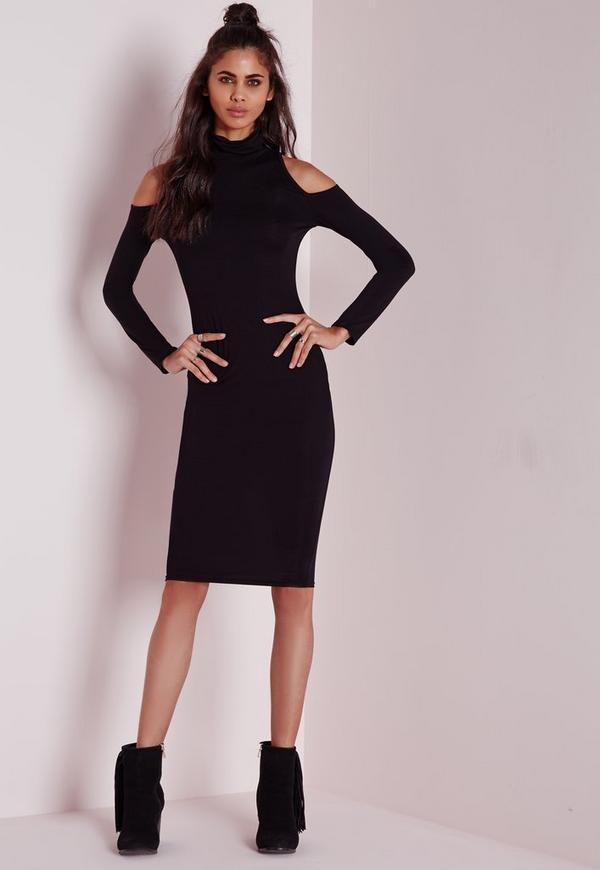 Jersey Cold Shoulder Midi Dress Black