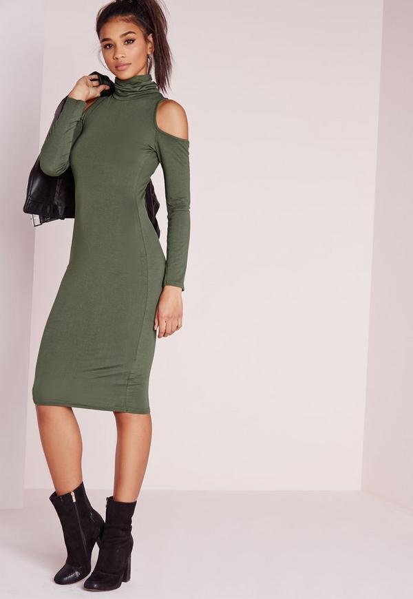 Jersey Cold Shoulder Midi Dress Khaki