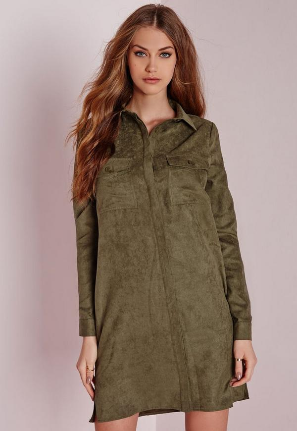Faux Suede Shirt Dress Khaki