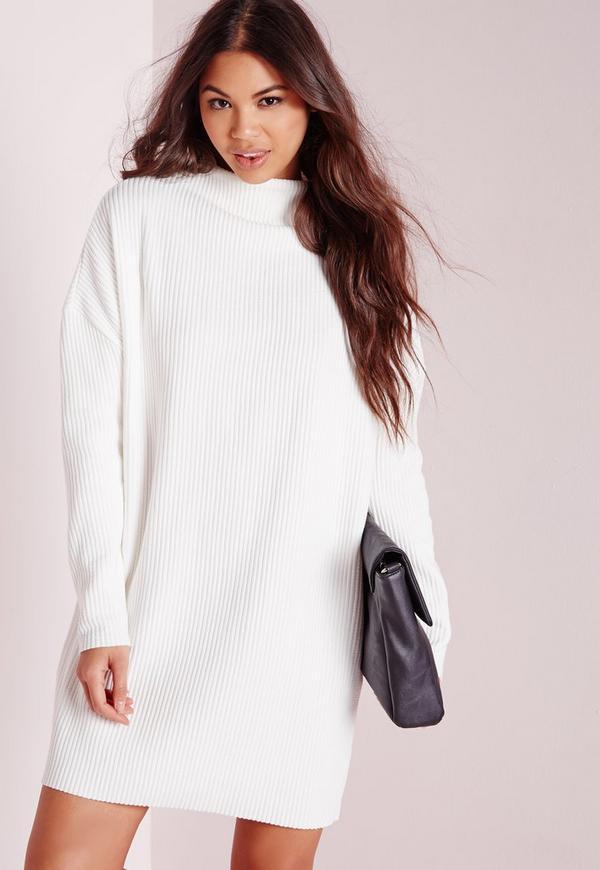 High Neck Slouchy Rib Sweater Dress Ivory