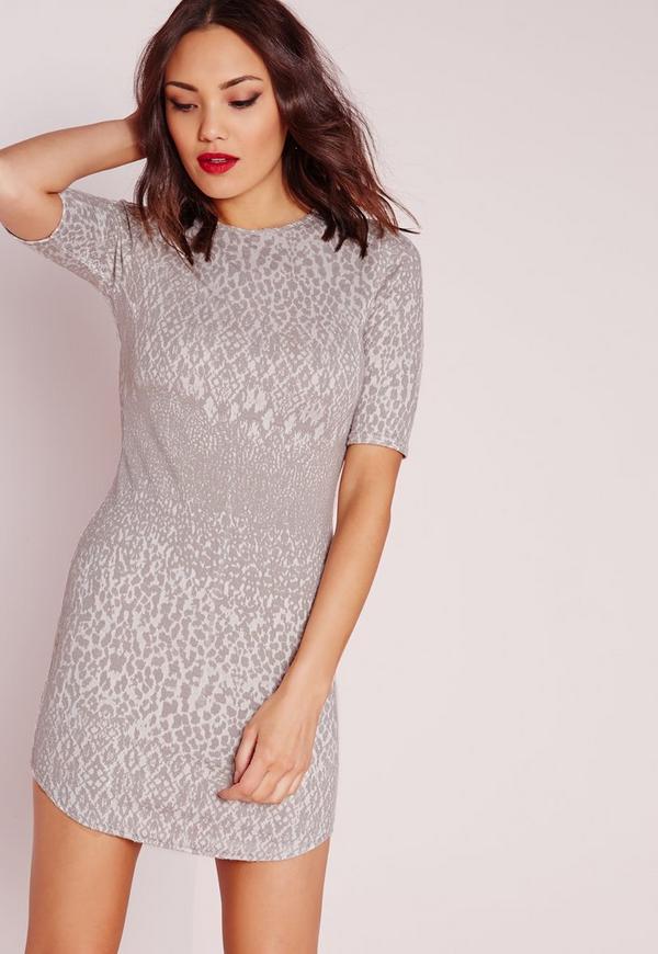 Curve Hem Jacquard Bodycon Dress Grey