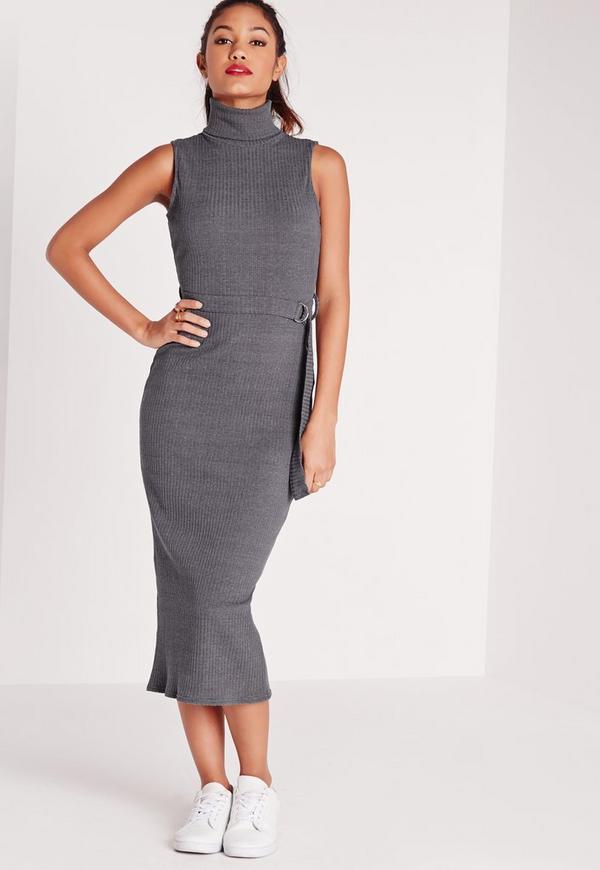 Sleeveless Roll Neck Tie Waist Midi Dress Grey