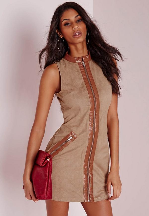 Faux Suede Zip Front Bodycon Dress Tan
