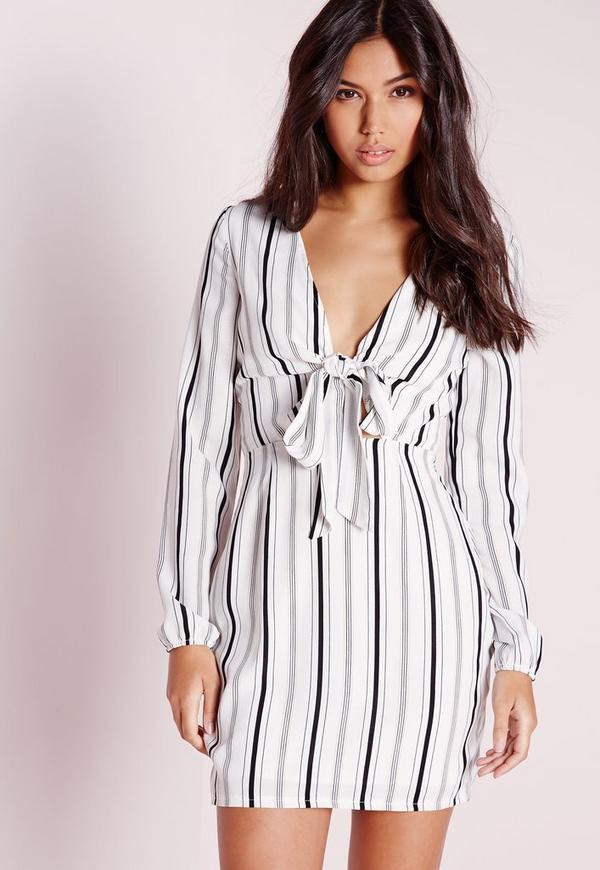 Tie Front Cut Out Stripe Dress White/Black