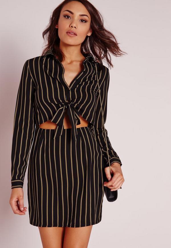 Tie Front Cut Out Stripe Shirt Dress Black