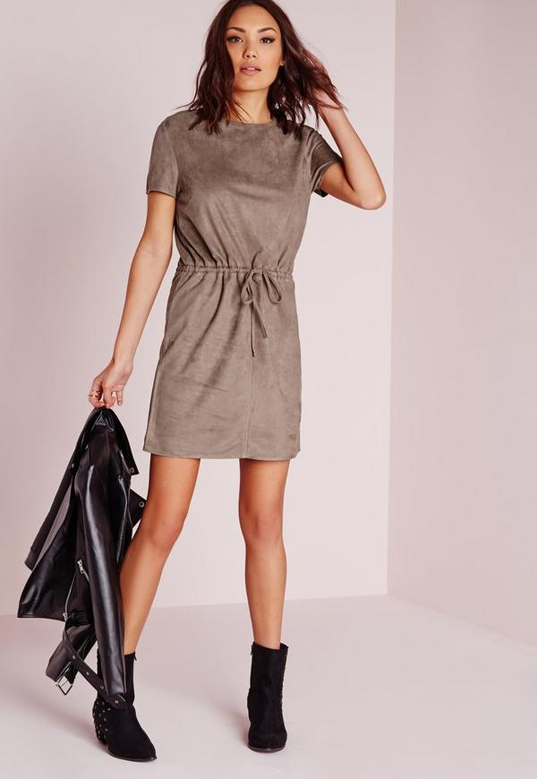 Tie Waist Faux Suede Dress Stone