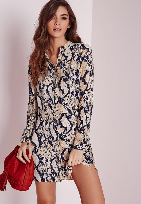 Collarless Shirt Dress Snake Print