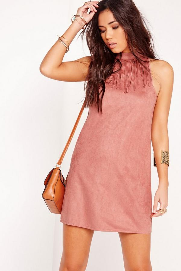 Sleeveless Fringe Trim Faux Suede Shift Dress Pink