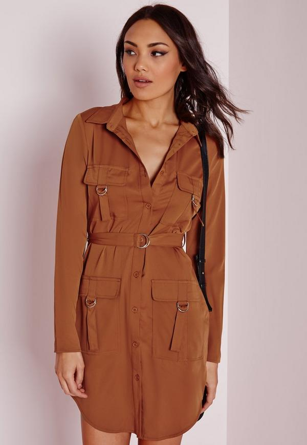 D-Ring Pocket Shirt Dress Tan