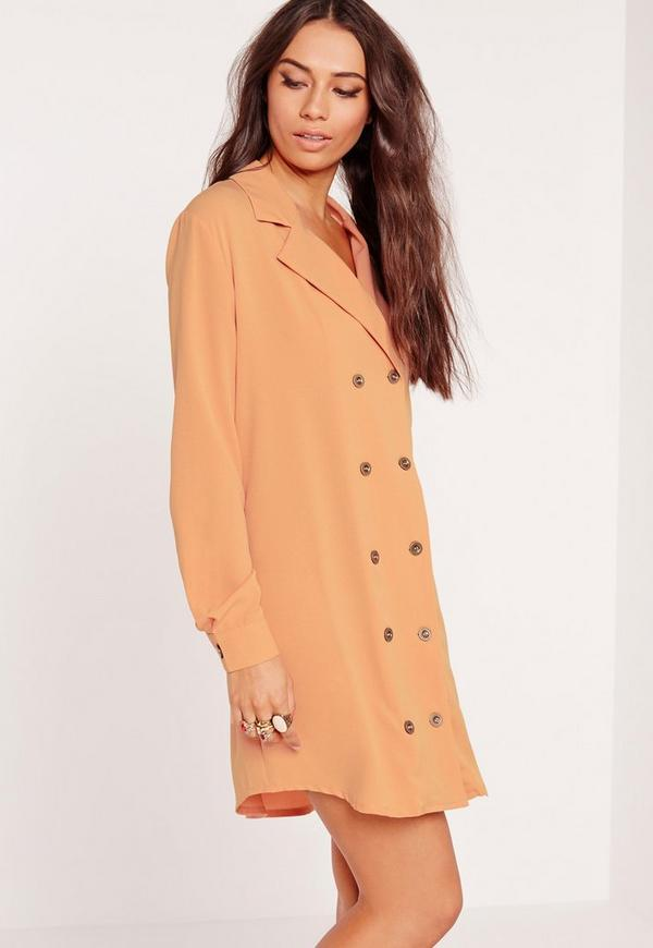 Double Button Curved Hem Shirt Dress Nude