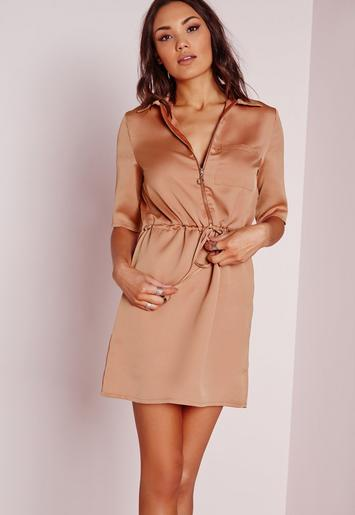 Silky zip front tie waist shirt dress bronze missguided for Zip up dress shirt