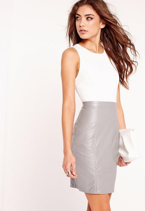 Contrast Faux Leather Bodycon Dress Grey/Ivory